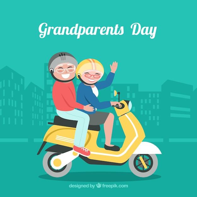 Background of grandparents bikers in flat\ design