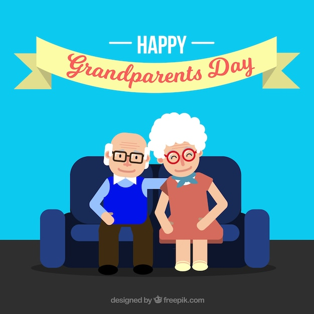 Background of grandparents sitting on sofa