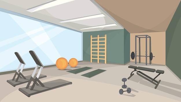 큰 창 체육관의 배경입니다. 스포츠 홀 인테리어. 프리미엄 벡터