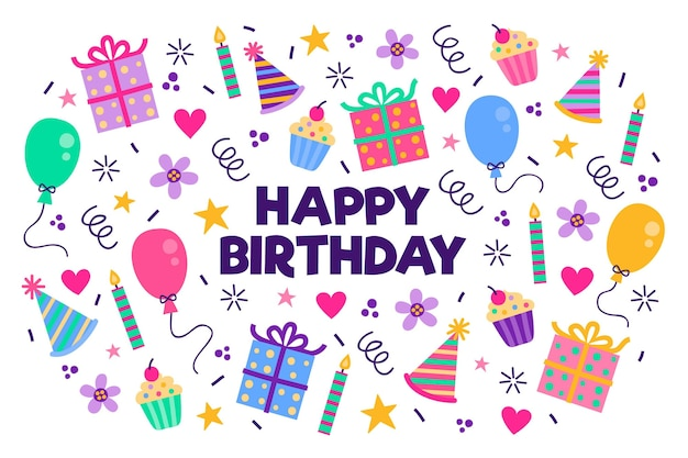 ギフトの手描きの誕生日パーティーの背景 Premiumベクター