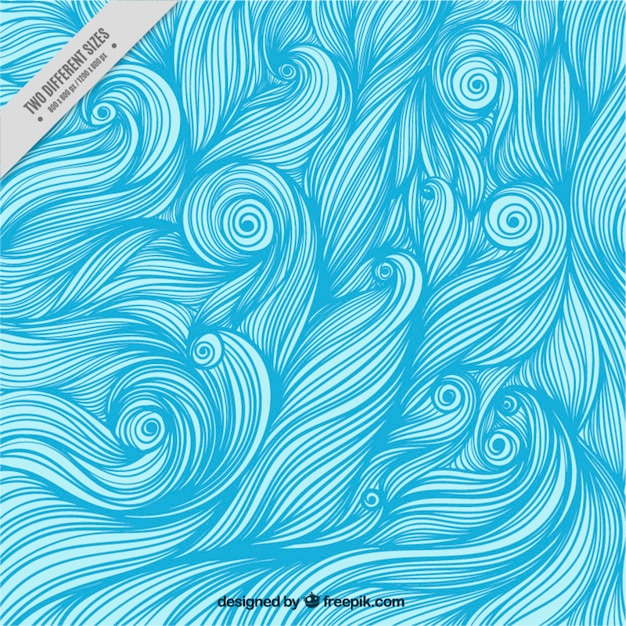 Background of hand-drawn blue waves  Free Vector