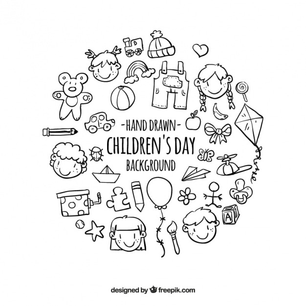 Background of hand drawn children elements  Free Vector