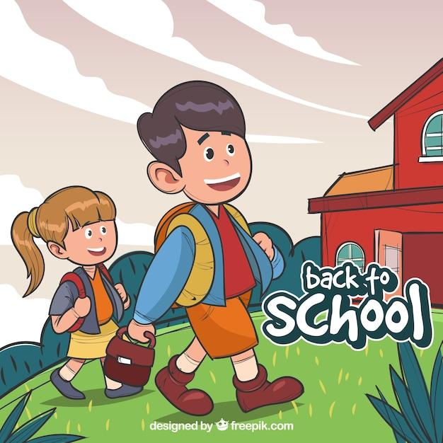 Background of hand drawn children going to school