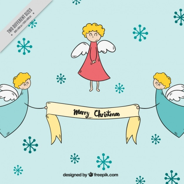 Background Of Hand Drawn Cute Angels With Christmas Message Free Vector
