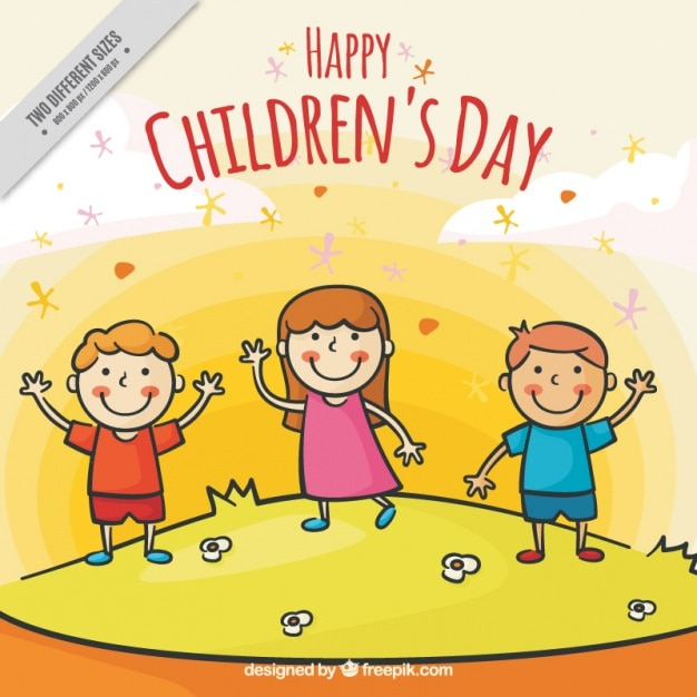 Background Of Hand Drawn Happy Children S Day Vector Free Download