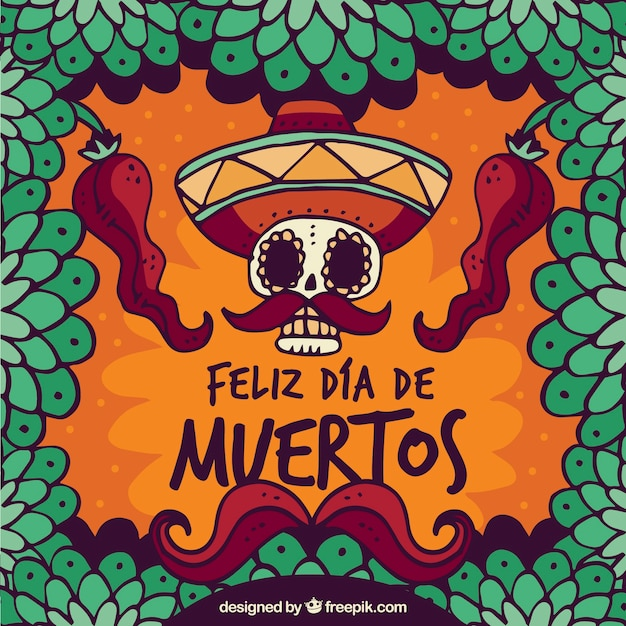 Background of hand drawn happy day of the dead