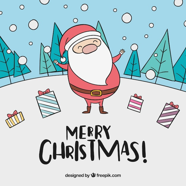 Background of hand drawn happy santa claus