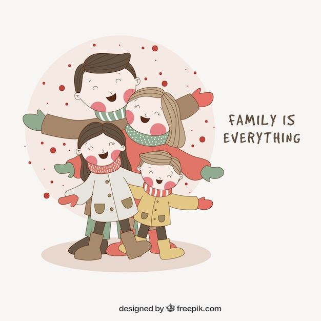 background of hand drawn lovely family with nice message vector