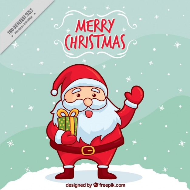Background of hand drawn nice santa claus greeting Free Vector