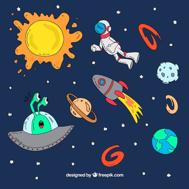 Background of hand drawn space elements and astronaut