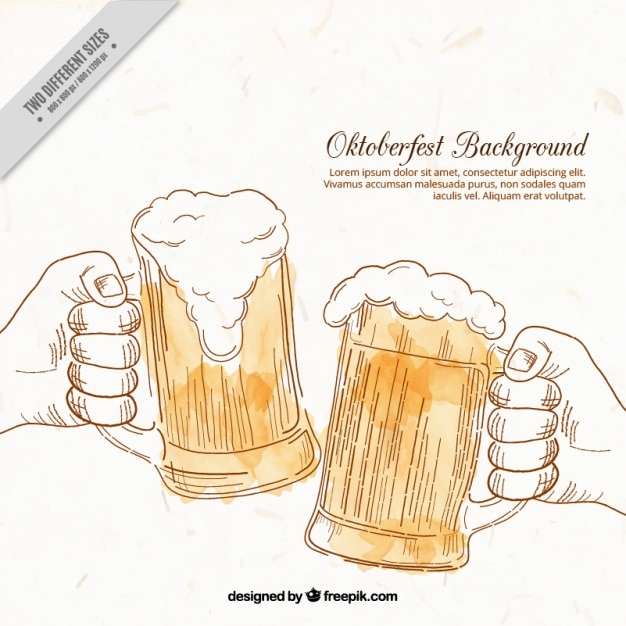 One Line Art Beer : Background of hand drawn toast with beer vector free
