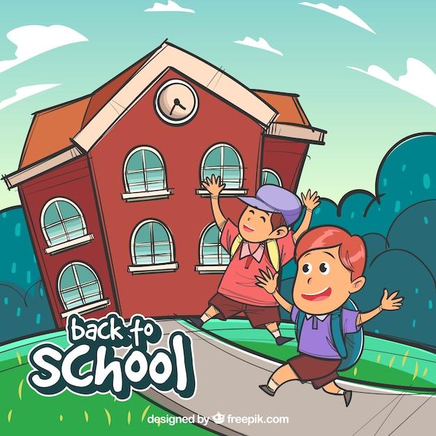 Background of happy children going to school