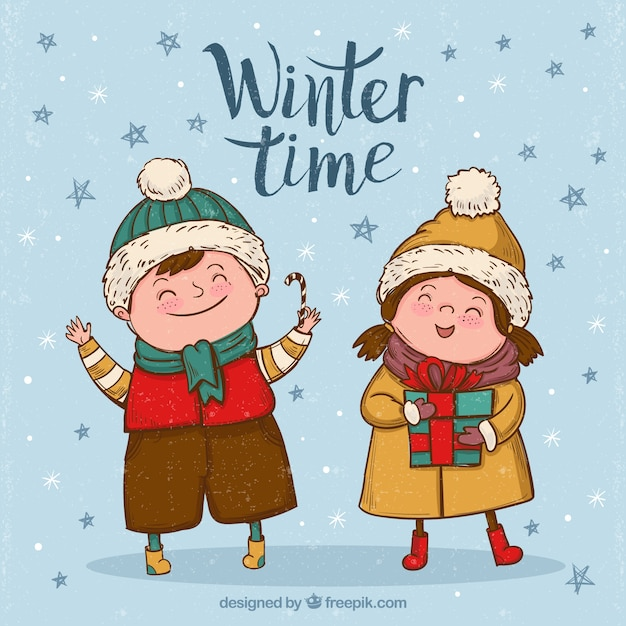 Background of happy children with hand-drawn\ winter clothes
