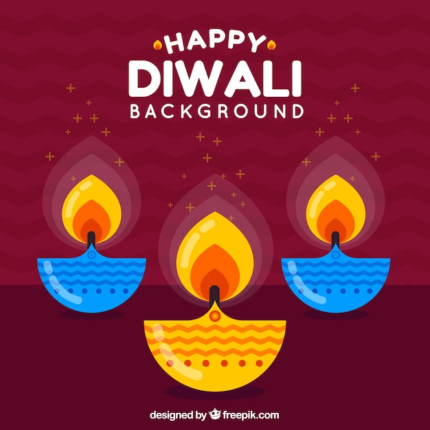 Background of happy diwali with colorful candles in flat design