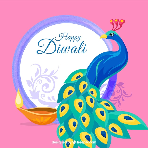 Background of happy diwali with peacock Free Vector