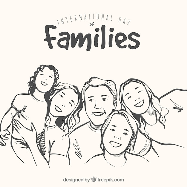 background of happy family in hand-drawn\ style