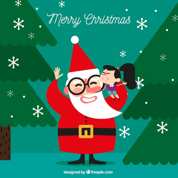Background of happy girl with santa claus in flat design