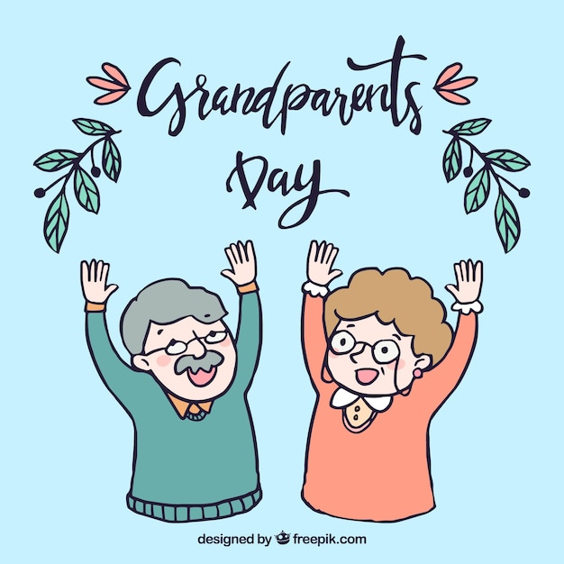 Background of happy hand drawn grandparents