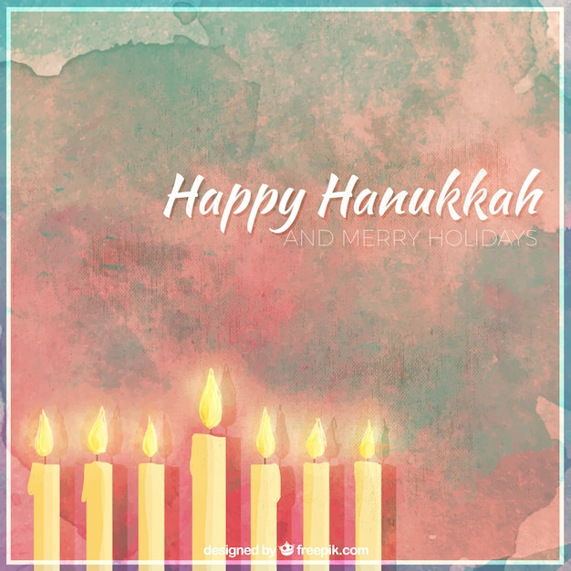 Background of happy hanukkah with candles in\ watercolor