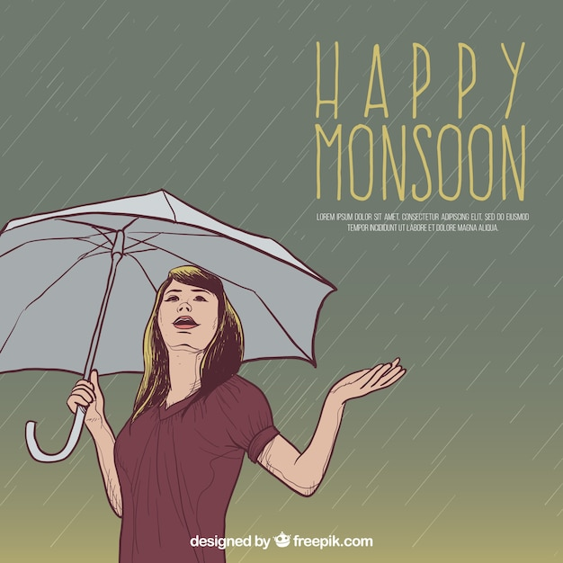 Background of happy monsoon woman with umbrella