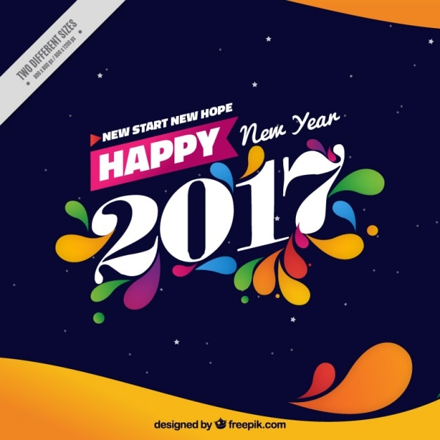 Background of happy new year 2017 with abstract shapes Free Vector