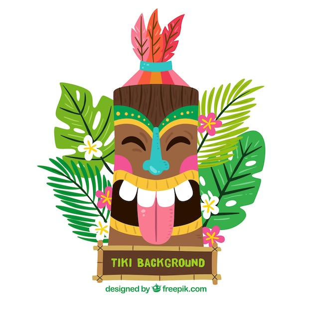 background of happy tiki mask in flat design vector free download rh freepik com tiki vector image tiki vector artwork