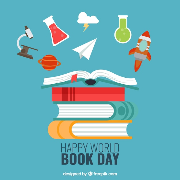 ... of happy world book day with decorative items Vector | Free Download