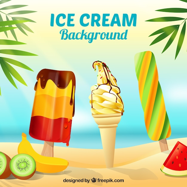 Background of ice cream on the beach Free Vector