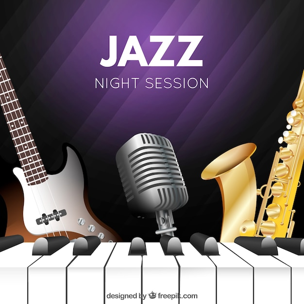 Background of jazz musical instruments Free Vector