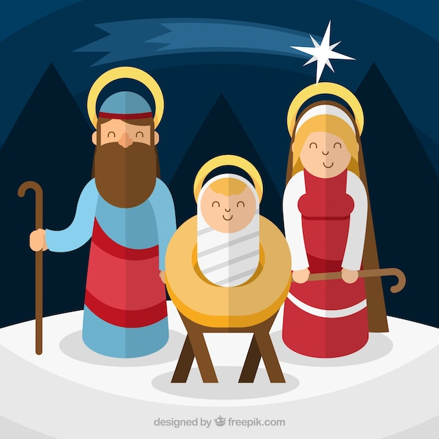 Background of joyful birth jesus in flat\ design