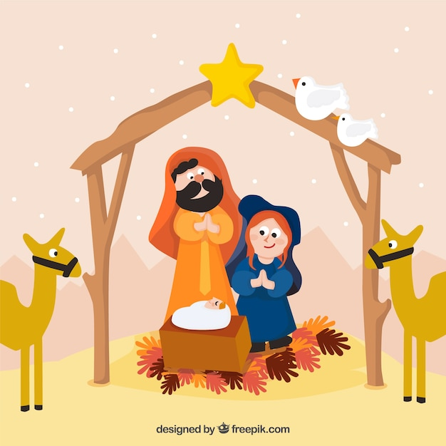 Background of lovely nativity scene in a\ beautiful landscape