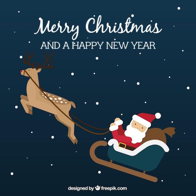 Background of lovely santa claus flying on sledge