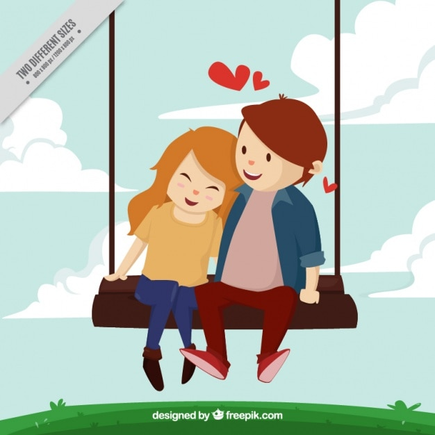 Background of lovely young couple in love on a\ swing