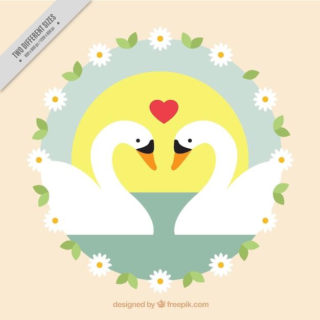 Background of loving swans 無料ベクター