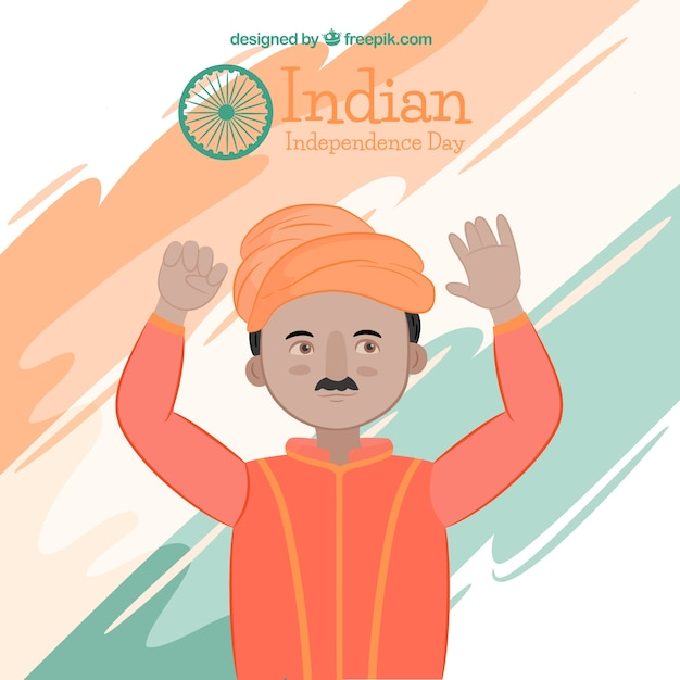 Background of man celebrating indian independence