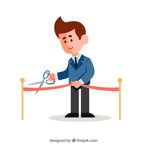 Background of man cutting an opening ribbon