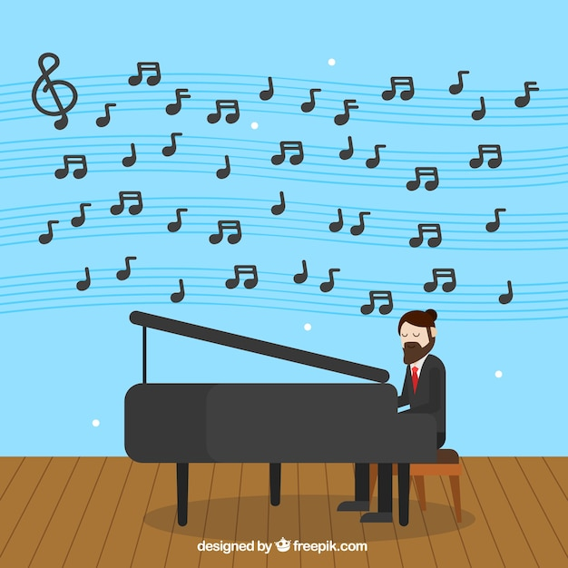 Free Download: background,music,design,man,note,backdrop,flat,piano,flat design,music background,music notes,notes,artistic,musical notes,musical,clipart,playing,bass,melody,clef