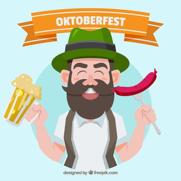 Background of man wearing traditional clothing celebrating oktoberfest