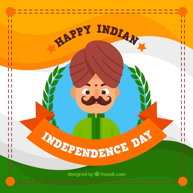 Background of man with mustache celebrating india independence day