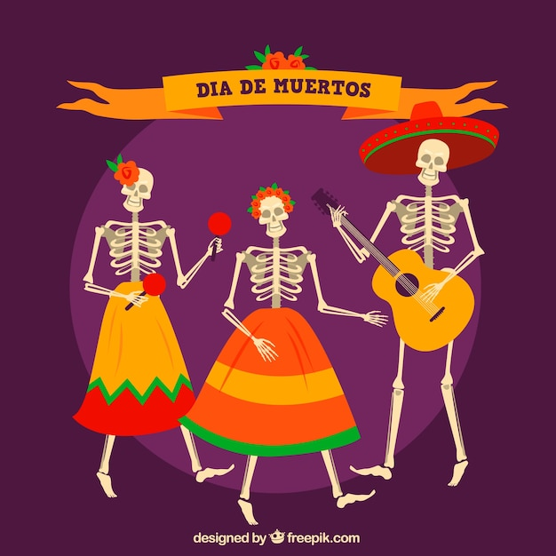 Background of mexican skeletons dancing and celebrating deads' day
