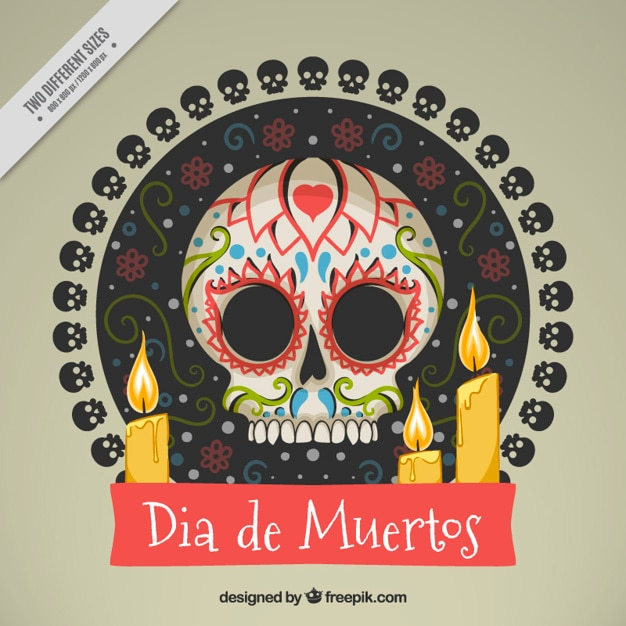 Background of mexican skull with candles Free Vector