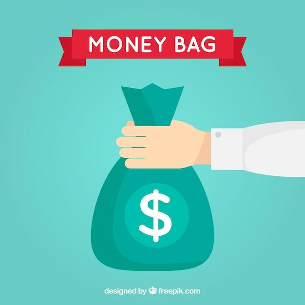 Background of money bag in flat design