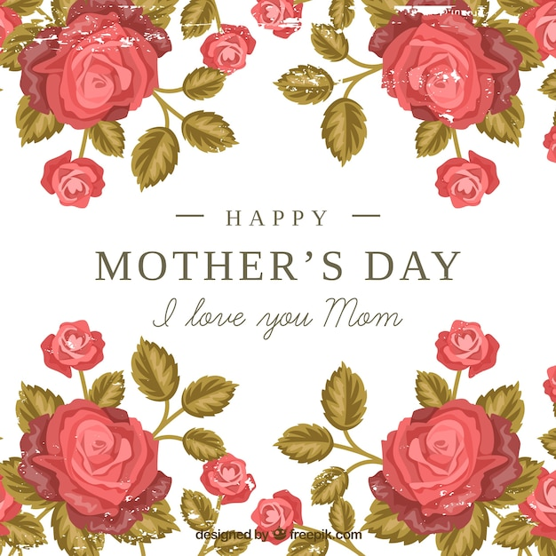 Background Of Mother 39 S Day Roses Vector Free Download