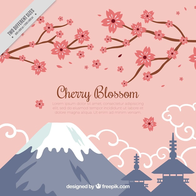 Background of mountains and branches with\ cherry blossoms