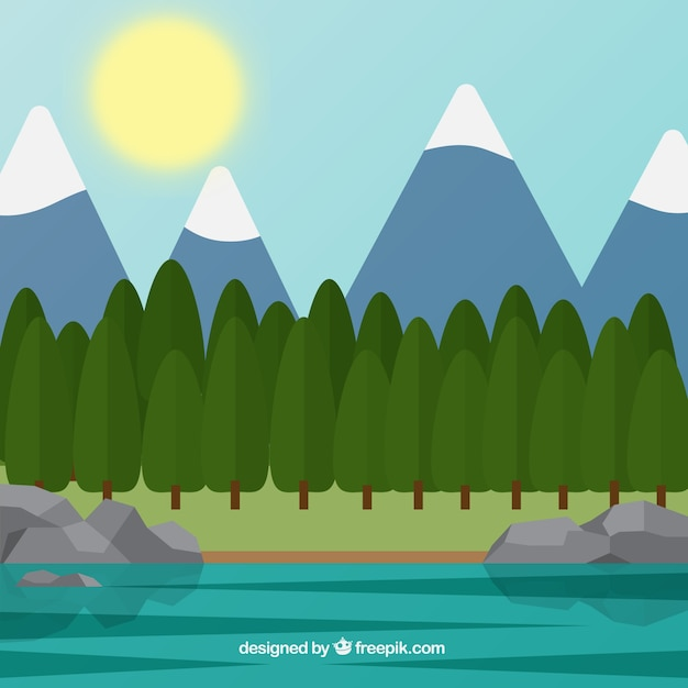 background of mountains and forest in flat\ design