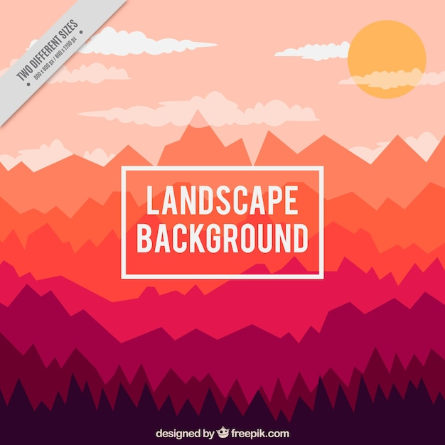 Background of mountains at sunset in flat\ design
