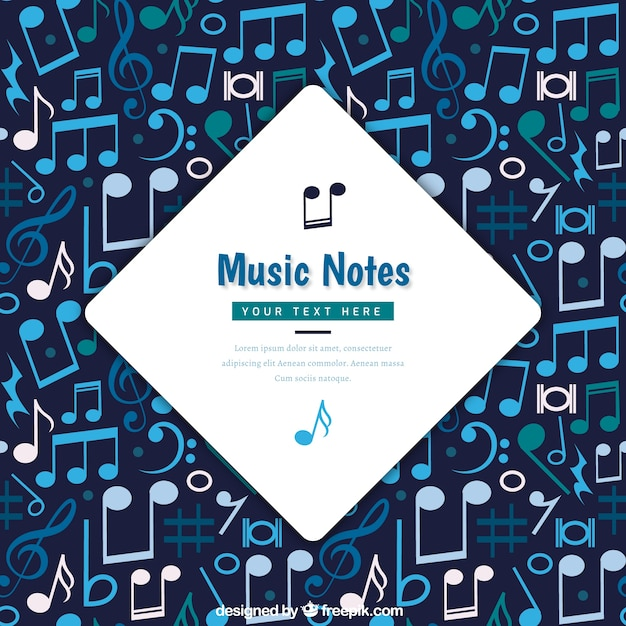 Background of musical notes in blue tones Free Vector