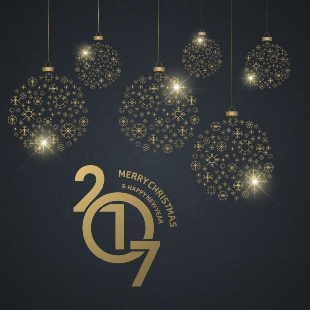 Background of new year balls with golden christmas balls Free Vector
