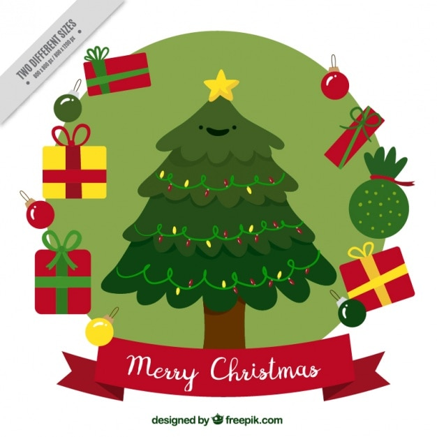 Background of nice christmas tree with hand drawn gifts