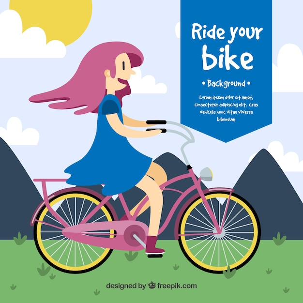 Background of nice girl with bicycle in flat\ design